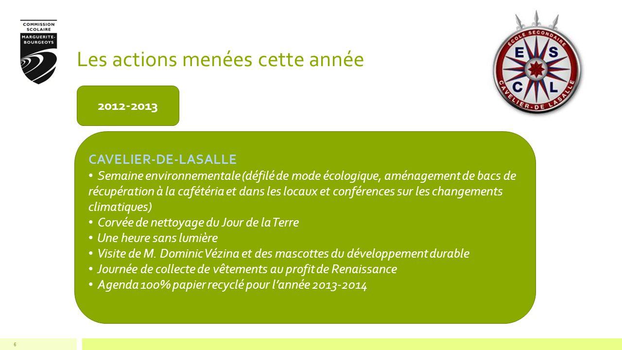 Les actions menées cette année 6 2012-2013 CAVELIER-DE-LASALLE Semaine environnementale (défilé de mode écologique, aménagement de bacs de récupératio