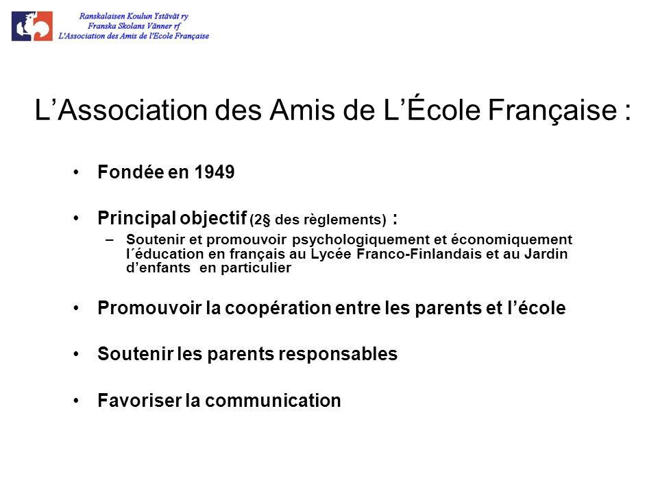 LAssociation des Amis de LÉcole Française : Fondée en 1949 Principal objectif (2§ des règlements) : –Soutenir et promouvoir psychologiquement et écono