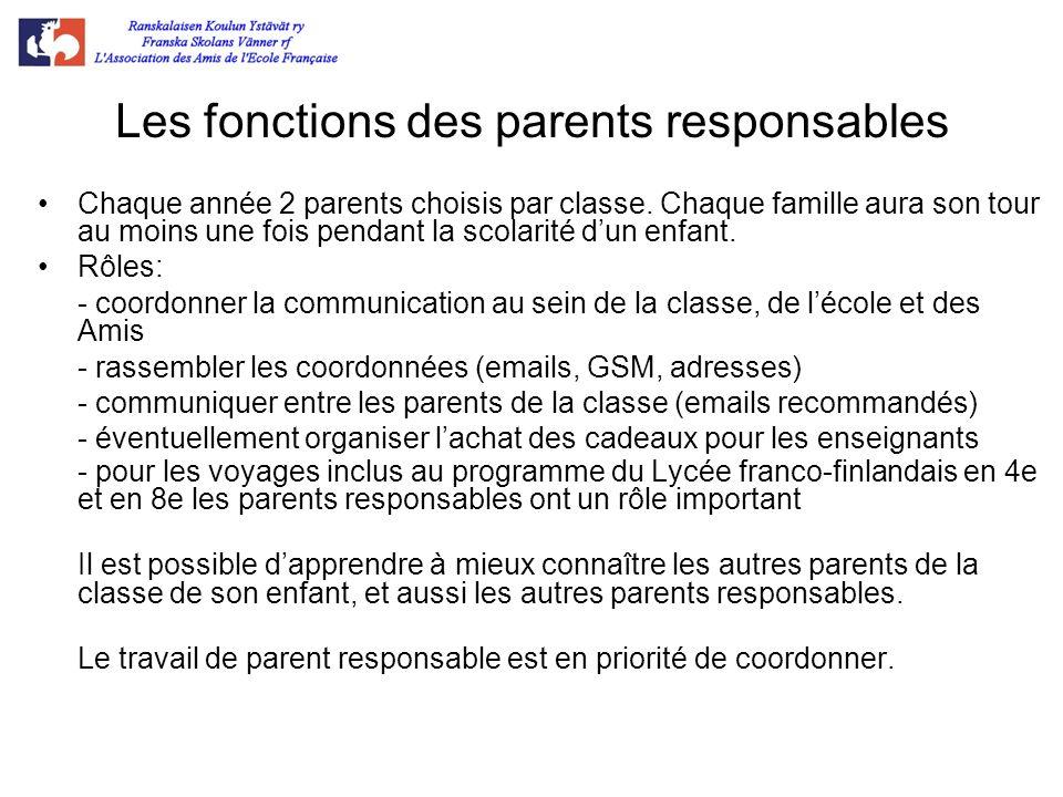 Les fonctions des parents responsables Chaque année 2 parents choisis par classe. Chaque famille aura son tour au moins une fois pendant la scolarité