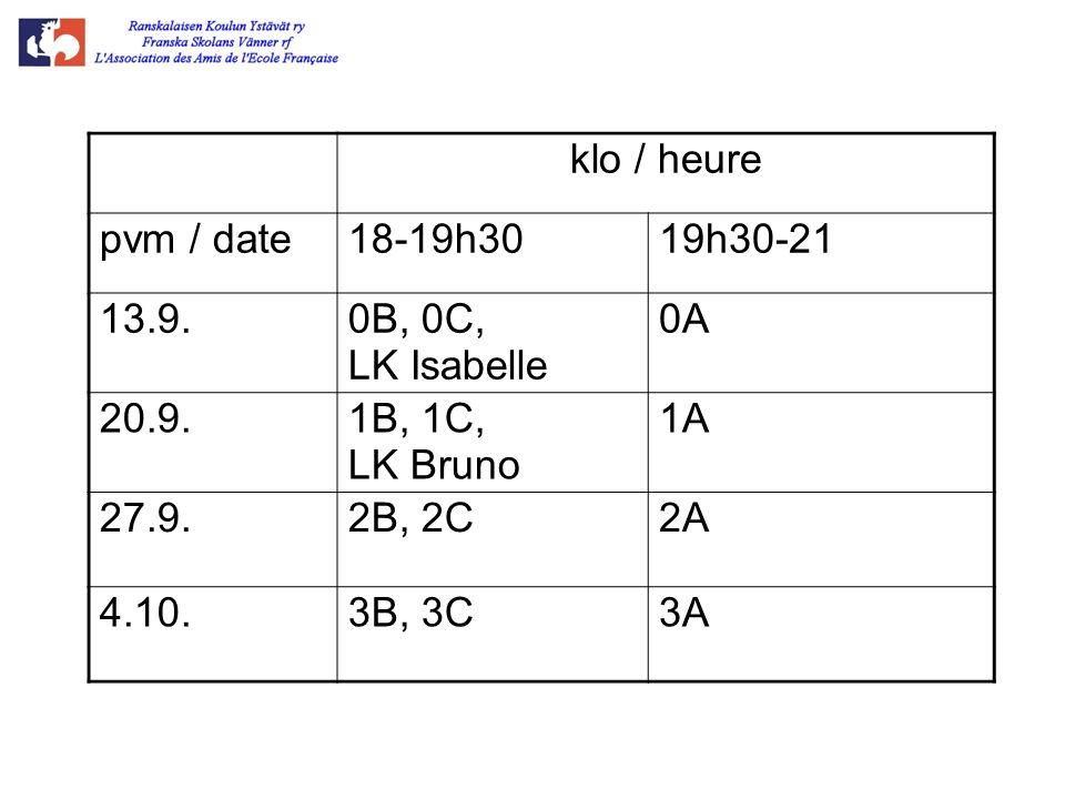 klo / heure pvm / date18-19h3019h30-21 13.9.0B, 0C, LK Isabelle 0A 20.9.1B, 1C, LK Bruno 1A 27.9.2B, 2C2A 4.10.3B, 3C3A