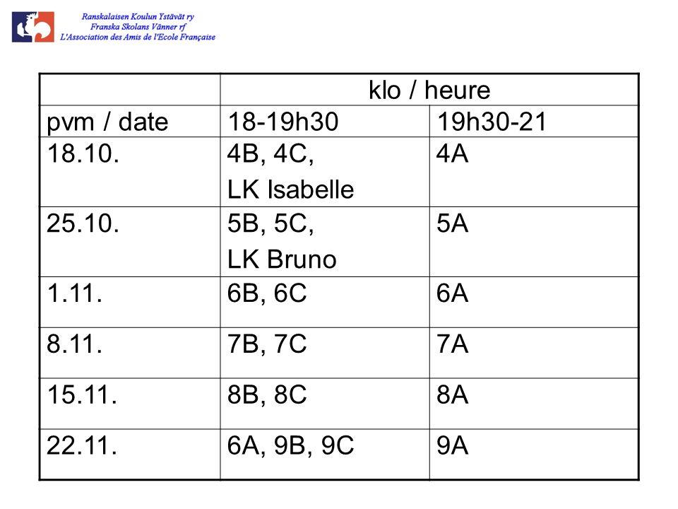 klo / heure pvm / date18-19h3019h30-21 18.10.4B, 4C, LK Isabelle 4A 25.10.5B, 5C, LK Bruno 5A 1.11.6B, 6C6A 8.11.7B, 7C7A 15.11.8B, 8C8A 22.11.6A, 9B,