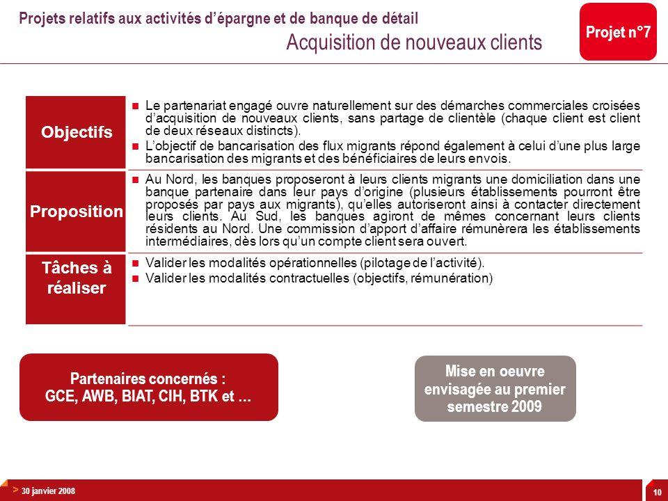 > 30 janvier 2008 10 Objectifs Le partenariat engagé ouvre naturellement sur des démarches commerciales croisées dacquisition de nouveaux clients, san