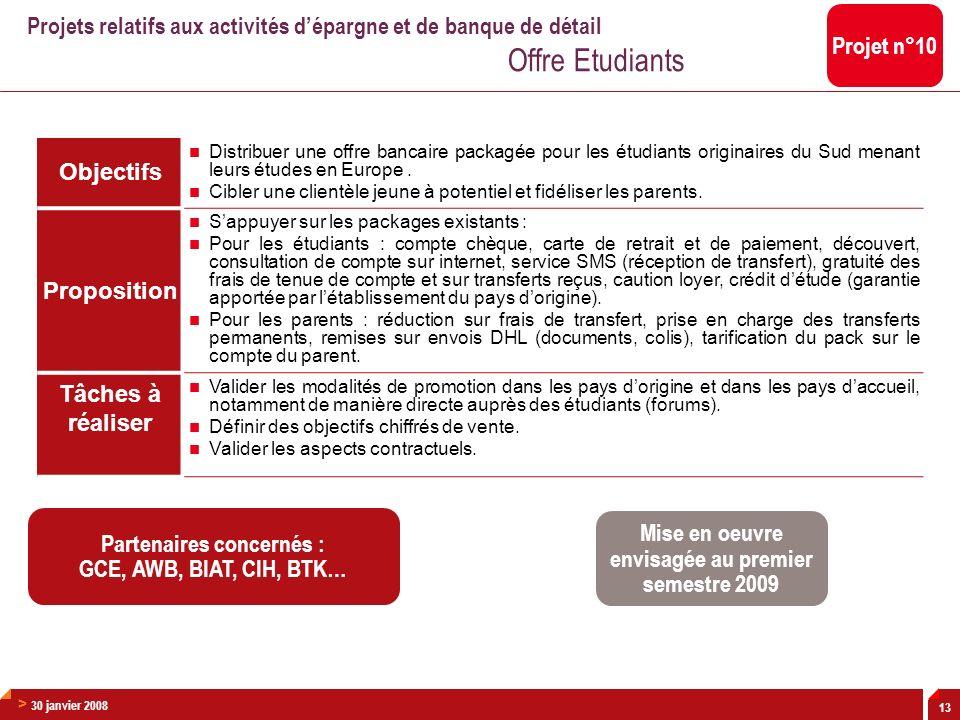 > 30 janvier 2008 13 Objectifs Distribuer une offre bancaire packagée pour les étudiants originaires du Sud menant leurs études en Europe. Cibler une