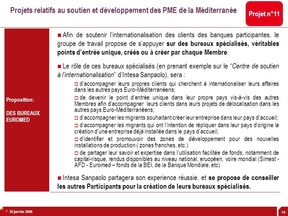 > 30 janvier 2008 14 Proposition: DES BUREAUX EUROMED Afin de soutenir linternationalisation des clients des banques participantes, le groupe de trava