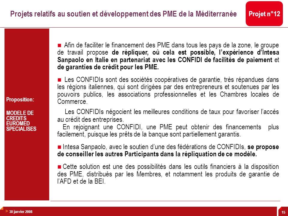 > 30 janvier 2008 15 Proposition: MODELE DE CREDITS EUROMED SPECIALISES Afin de faciliter le financement des PME dans tous les pays de la zone, le gro