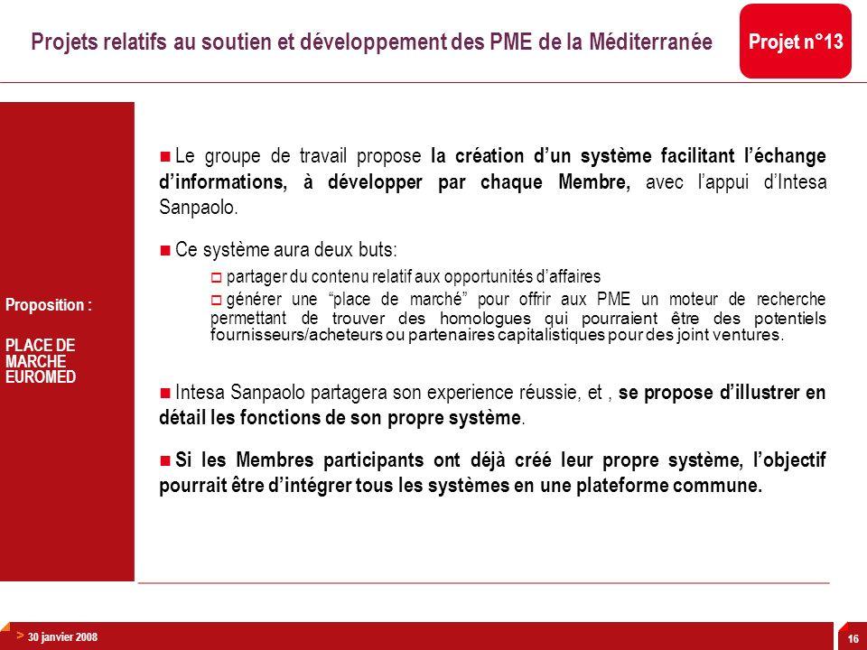 > 30 janvier 2008 16 Proposition : PLACE DE MARCHE EUROMED Le groupe de travail propose la création dun système facilitant léchange dinformations, à d