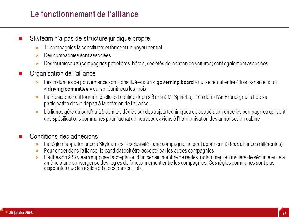 > 30 janvier 2008 27 Le fonctionnement de lalliance Skyteam na pas de structure juridique propre: > 11 compagnies la constituent et forment un noyau c