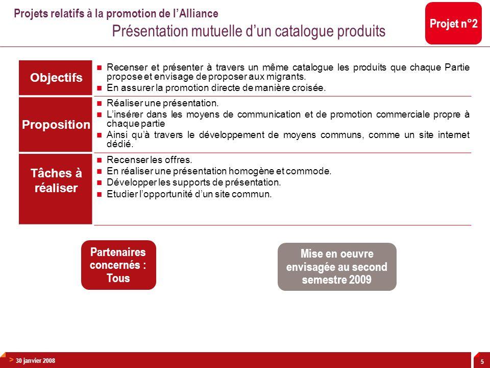 > 30 janvier 2008 6 Objectifs Automatiser et homogénéiser le traitement des transferts financiers réalisés entre les membres de lAlliance, en évitant le déploiement de multiples solutions bilatérales.