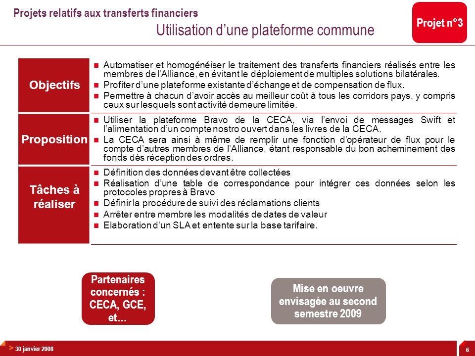 > 30 janvier 2008 6 Objectifs Automatiser et homogénéiser le traitement des transferts financiers réalisés entre les membres de lAlliance, en évitant