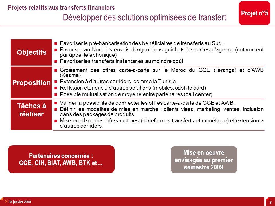 > 30 janvier 2008 8 Objectifs Favoriser la pré-bancarisation des bénéficiaires de transferts au Sud. Favoriser au Nord les envois dargent hors guichet