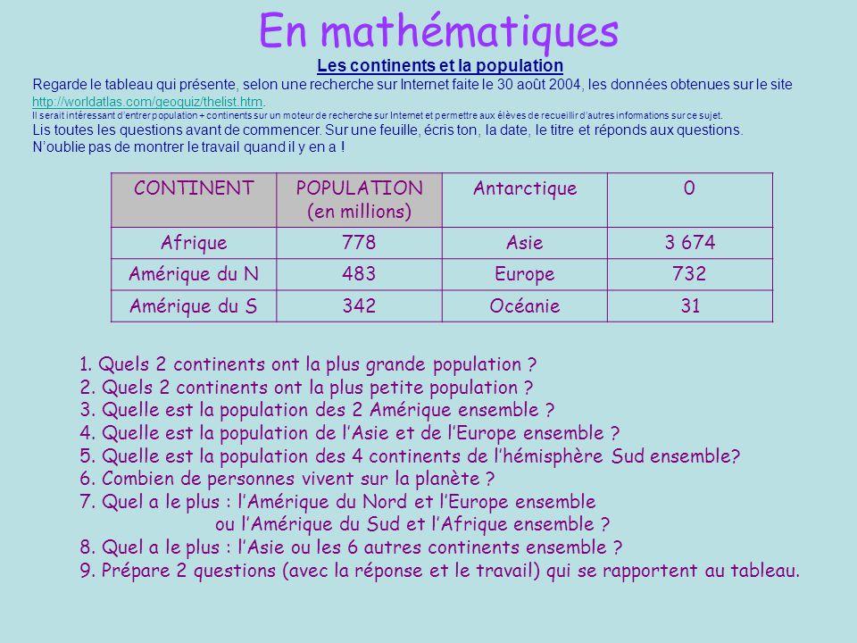 En mathématiques Les continents et la population Regarde le tableau qui présente, selon une recherche sur Internet faite le 30 août 2004, les données obtenues sur le site http://worldatlas.com/geoquiz/thelist.htm.