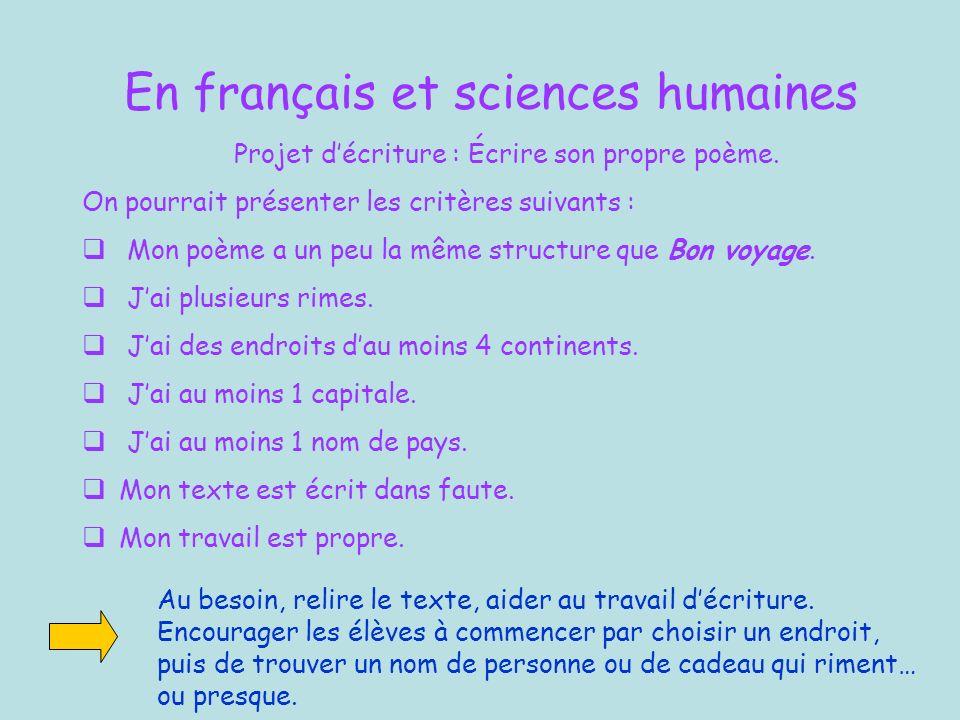 En français et sciences humaines Projet décriture : Écrire son propre poème.