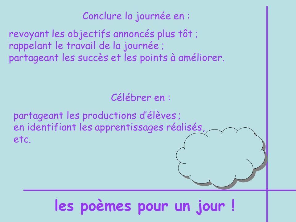 En français et sciences humaines Projet décriture : Écrire son propre poème. On pourrait présenter les critères suivants : Mon poème a un peu la même