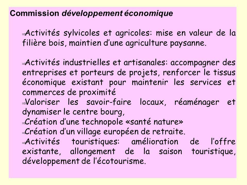 Activités sylvicoles et agricoles: mise en valeur de la filière bois, maintien dune agriculture paysanne. Activités industrielles et artisanales: acco