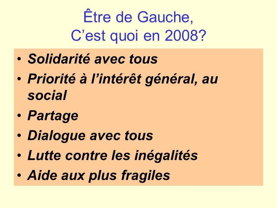 Être de Gauche, Cest quoi en 2008? Solidarité avec tous Priorité à lintérêt général, au social Partage Dialogue avec tous Lutte contre les inégalités