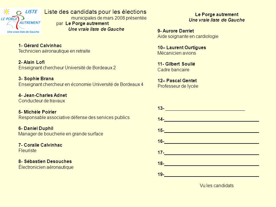 Liste des candidats pour les élections municipales de mars 2008 présentée par Le Porge autrement Une vraie liste de Gauche 1- Gérard Calvinhac Technic