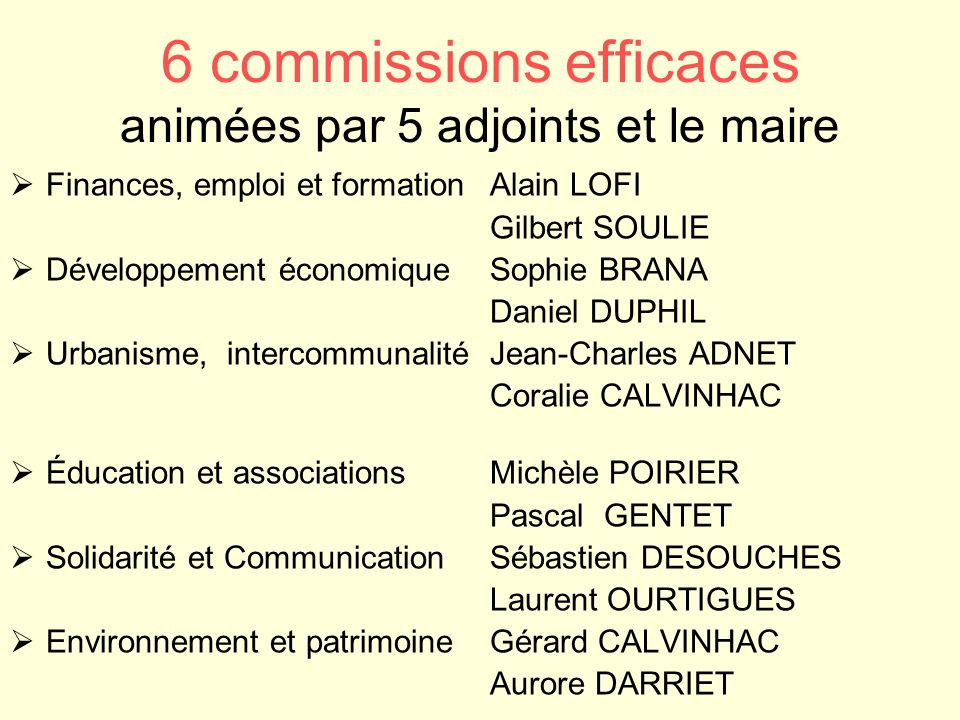 6 commissions efficaces animées par 5 adjoints et le maire Finances, emploi et formation Alain LOFI Gilbert SOULIE Développement économiqueSophie BRAN