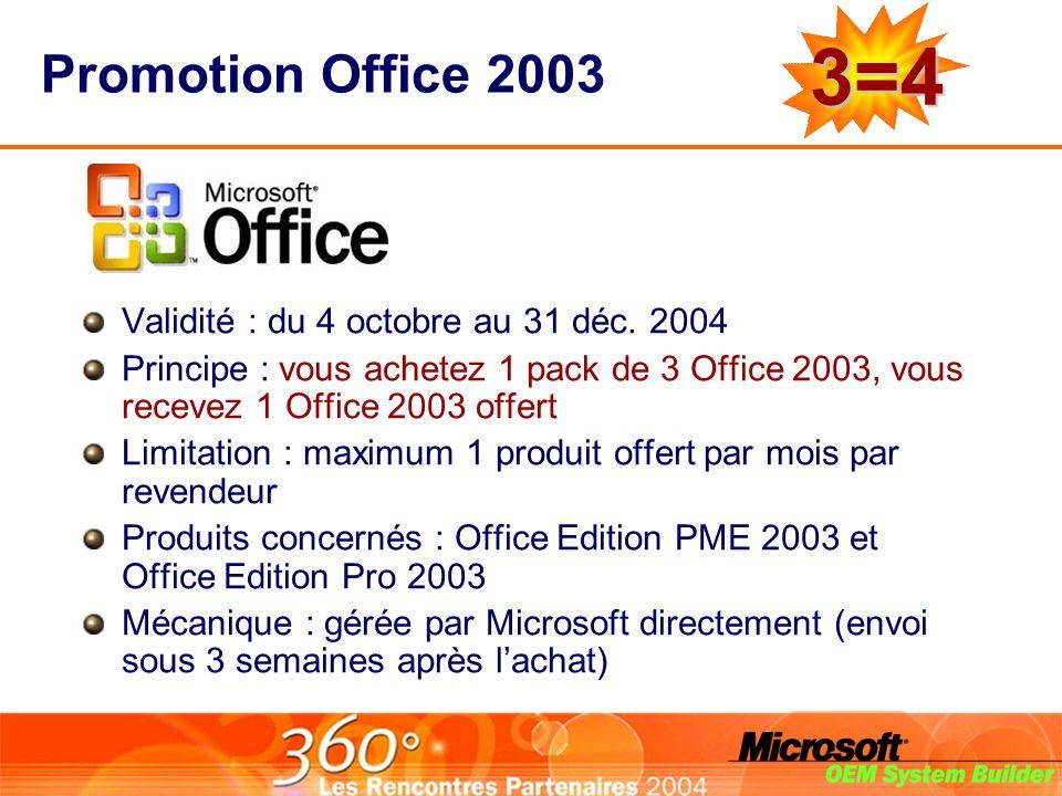 Promotion Office 2003 Validité : du 4 octobre au 31 déc.