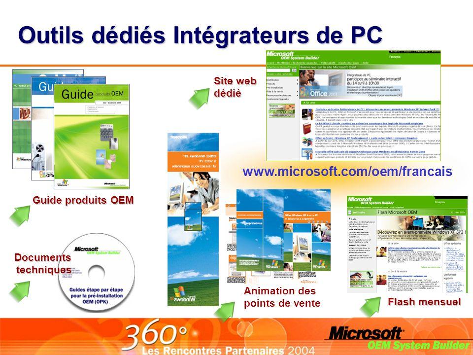 Outils dédiés Intégrateurs de PC Guide produits OEM Site web dédié Documentstechniques Flash mensuel Animation des points de vente www.microsoft.com/oem/francais
