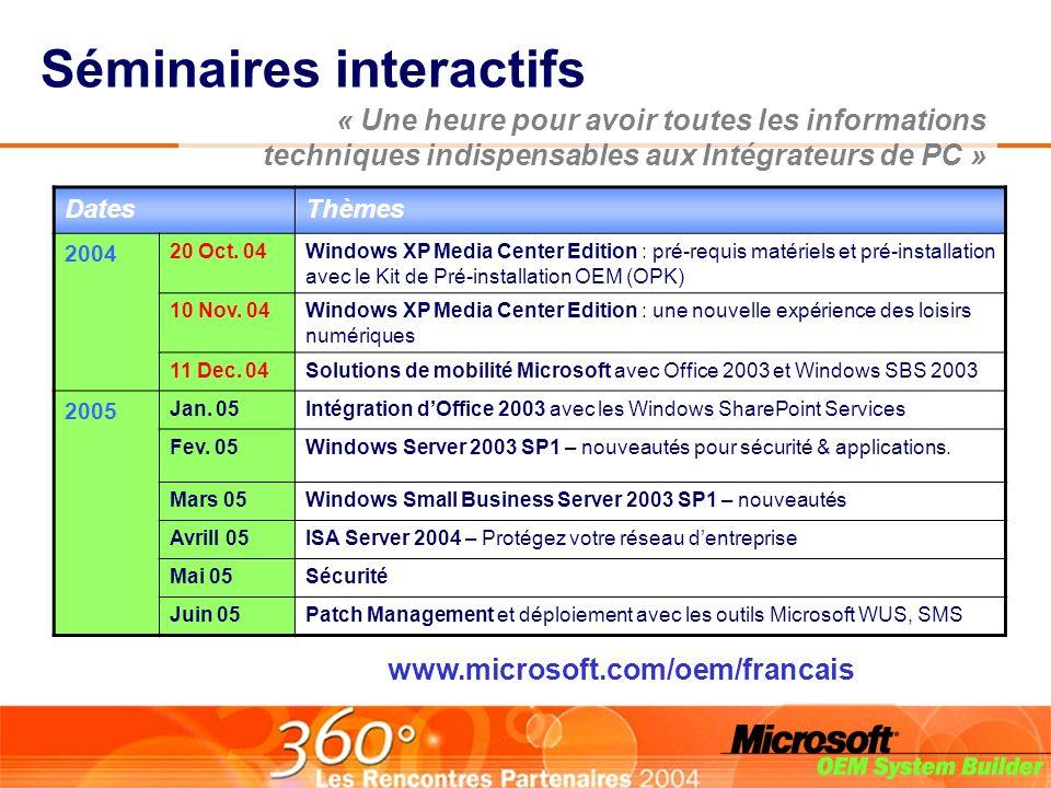 « Une heure pour avoir toutes les informations techniques indispensables aux Intégrateurs de PC » Séminaires interactifs DatesThèmes 2004 20 Oct.
