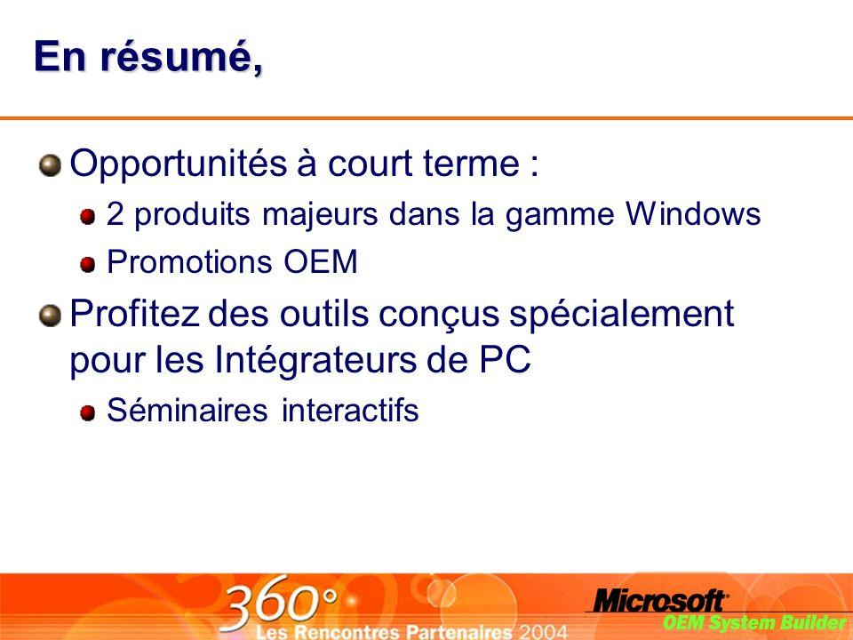 En résumé, Opportunités à court terme : 2 produits majeurs dans la gamme Windows Promotions OEM Profitez des outils conçus spécialement pour les Intégrateurs de PC Séminaires interactifs