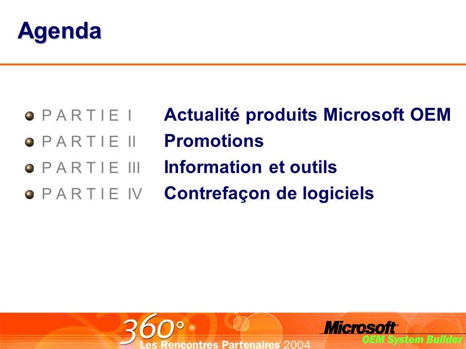 Agenda P A R T I E I Actualité produits Microsoft OEM P A R T I E II Promotions P A R T I E III Information et outils P A R T I E IV Contrefaçon de logiciels