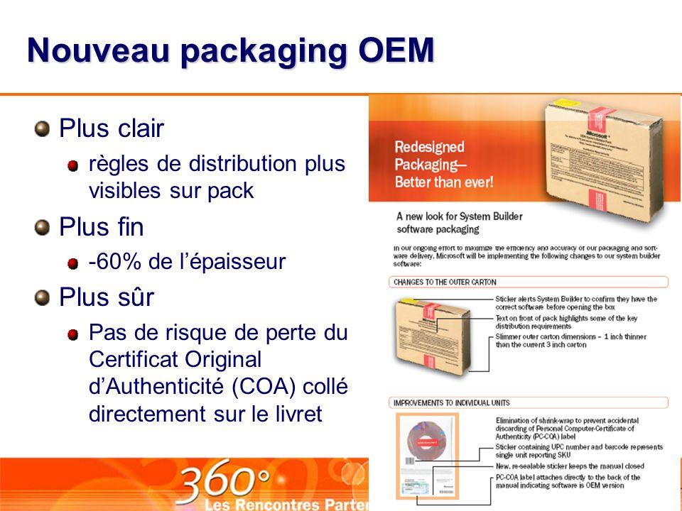 Nouveau packaging OEM Plus clair règles de distribution plus visibles sur pack Plus fin -60% de lépaisseur Plus sûr Pas de risque de perte du Certificat Original dAuthenticité (COA) collé directement sur le livret