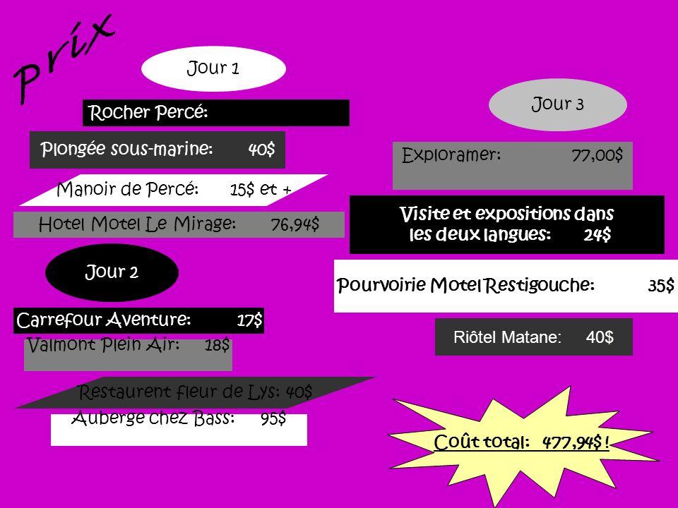Plongée sous-marine: 40$ Jour 1 Rocher Percé: Manoir de Percé: 15$ et + Hotel Motel Le Mirage: 76,94$ Jour 2 Jour 3 Auberge chez Bass: 95$ Valmont Ple