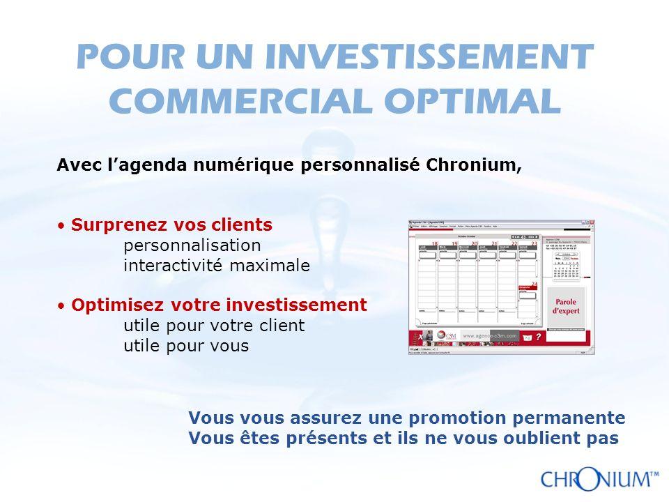 POUR UN INVESTISSEMENT COMMERCIAL OPTIMAL Avec lagenda numérique personnalisé Chronium, Surprenez vos clients personnalisation interactivité maximale