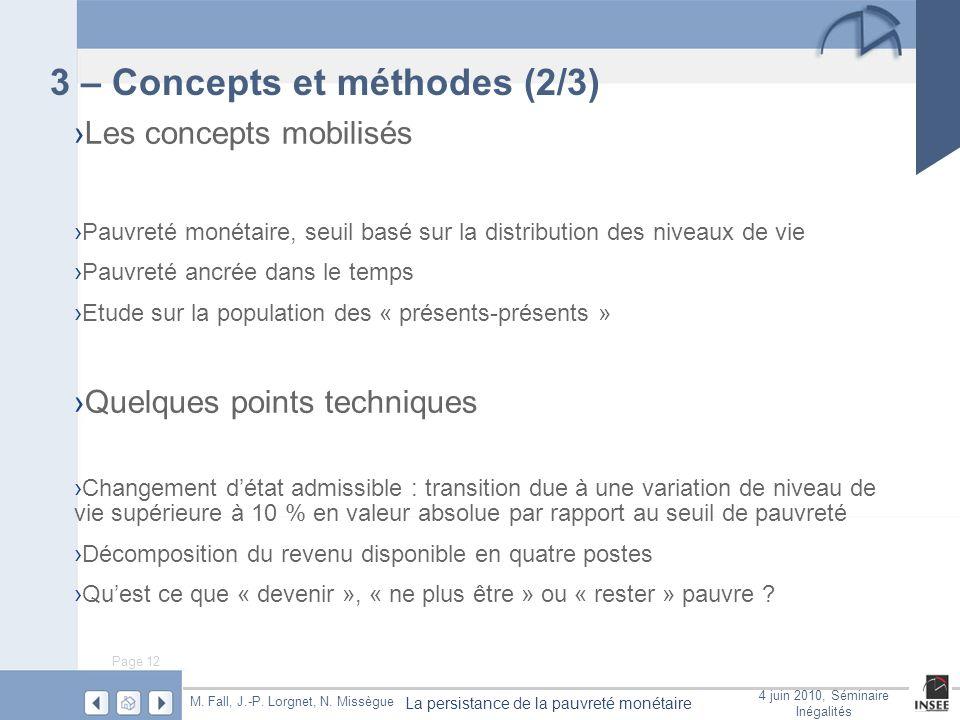 Page 12 La persistance de la pauvreté monétaire M. Fall, J.-P. Lorgnet, N. Missègue 4 juin 2010, Séminaire Inégalités 3 – Concepts et méthodes (2/3) L