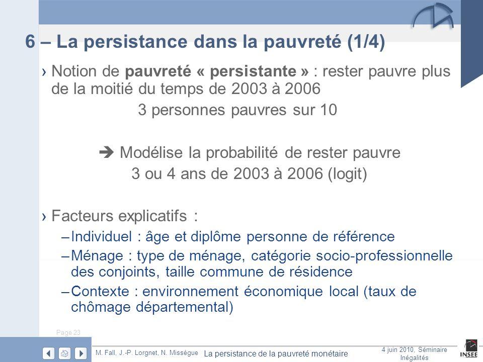 Page 23 La persistance de la pauvreté monétaire M. Fall, J.-P. Lorgnet, N. Missègue 4 juin 2010, Séminaire Inégalités 6 – La persistance dans la pauvr
