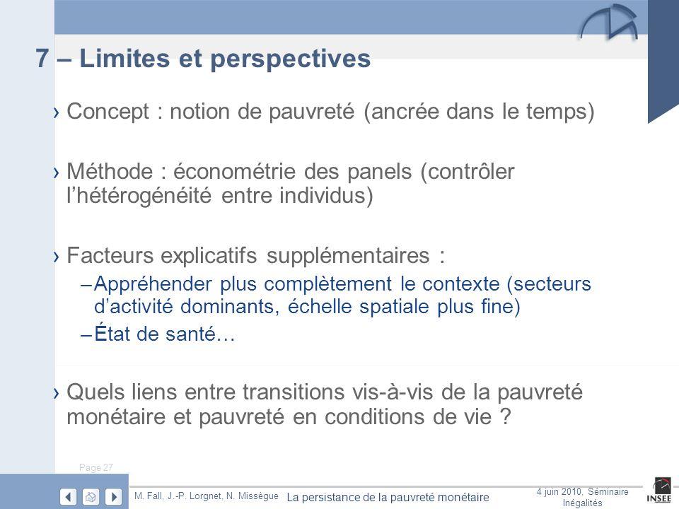 Page 27 La persistance de la pauvreté monétaire M. Fall, J.-P. Lorgnet, N. Missègue 4 juin 2010, Séminaire Inégalités 7 – Limites et perspectives Conc