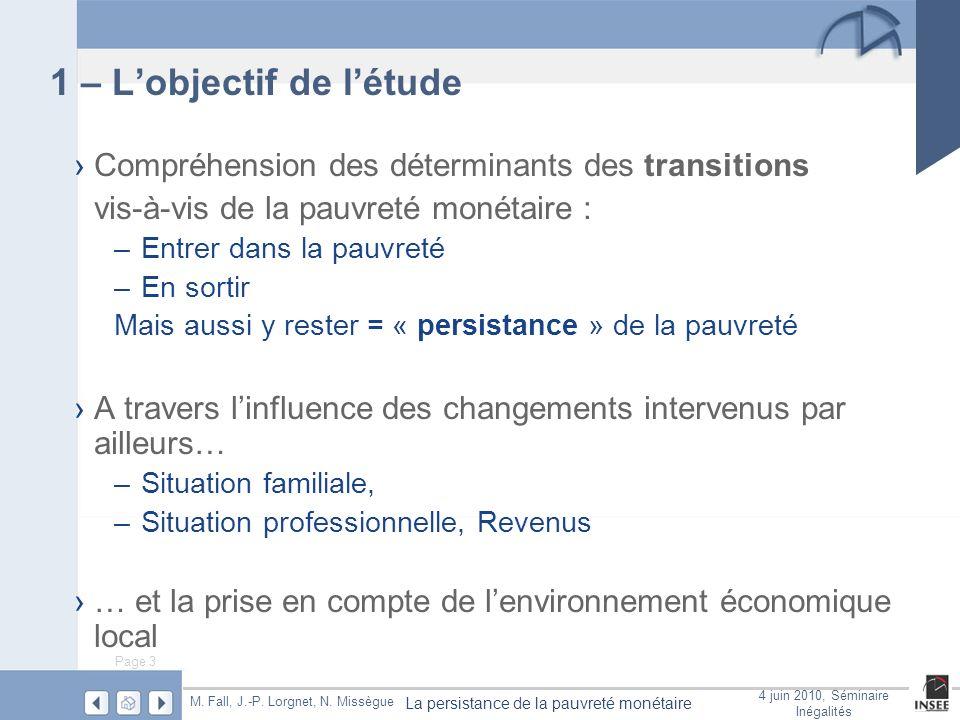Page 4 La persistance de la pauvreté monétaire M.Fall, J.-P.