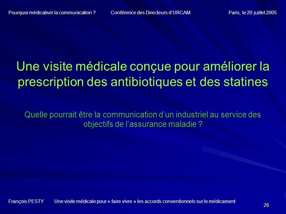 28 Une visite médicale conçue pour améliorer la prescription des antibiotiques et des statines Quelle pourrait être la communication dun industriel au