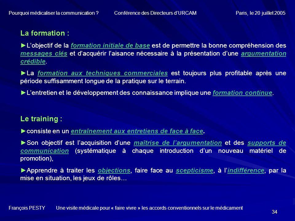 34 François PESTY Une visite médicale pour « faire vivre » les accords conventionnels sur le médicament La formation : Lobjectif de la formation initi