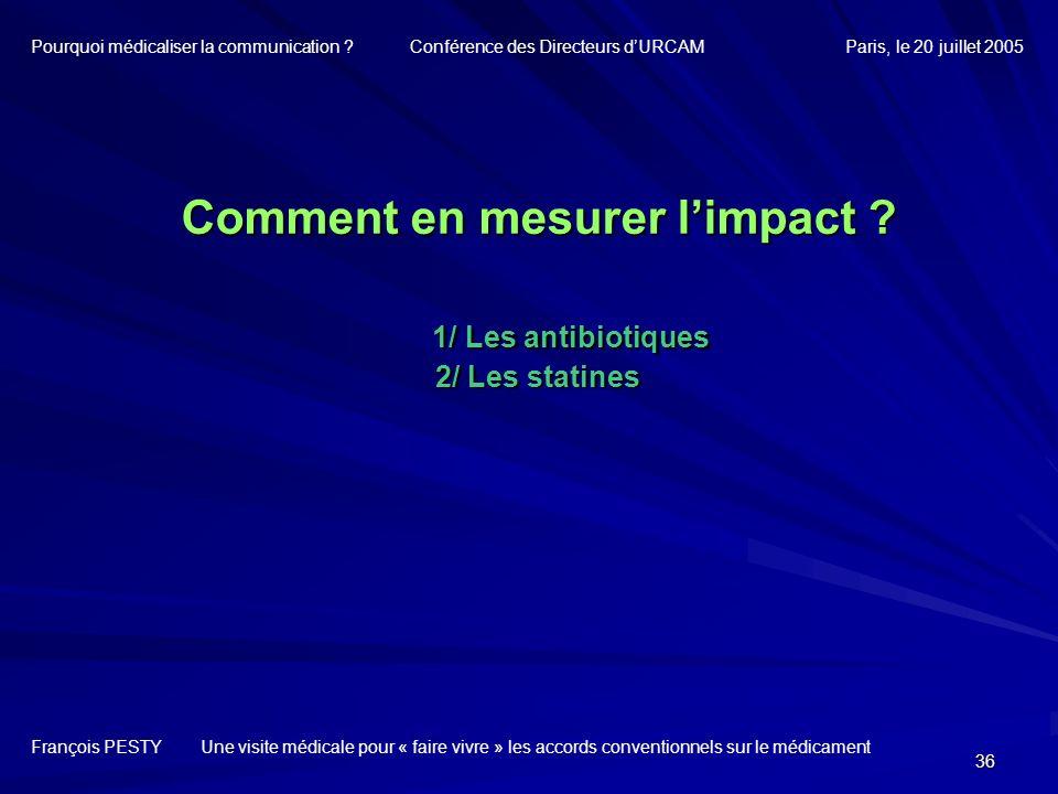 36 Comment en mesurer limpact ? 1/ Les antibiotiques 2/ Les statines François PESTY Une visite médicale pour « faire vivre » les accords conventionnel