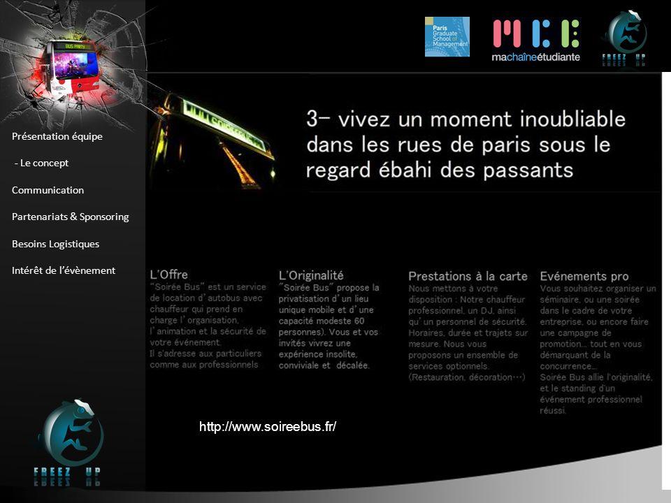 Présentation équipe - Le concept Communication Partenariats & Sponsoring Besoins Logistiques Intérêt de lévènement http://www.soireebus.fr/