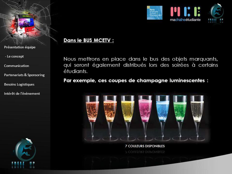 Présentation équipe - Le concept Communication Partenariats & Sponsoring Besoins Logistiques Intérêt de lévènement Dans le BUS MCETV : Nous mettrons e