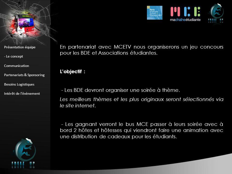 Présentation équipe - Le concept Communication Partenariats & Sponsoring Besoins Logistiques Intérêt de lévènement En partenariat avec MCETV nous orga