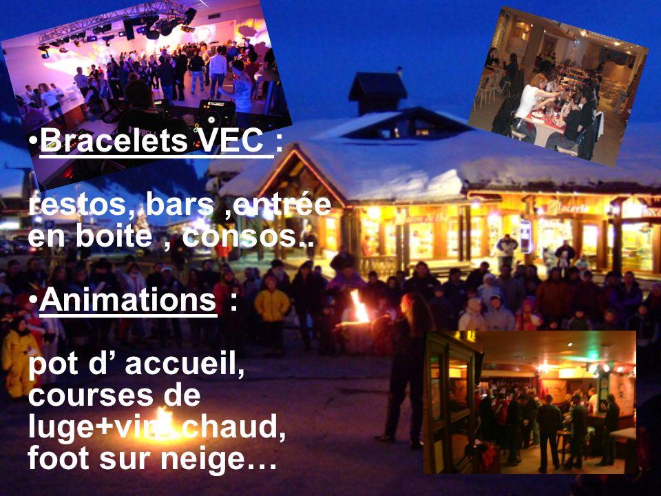 Bracelets VEC : restos, bars,entrée en boite, consos..