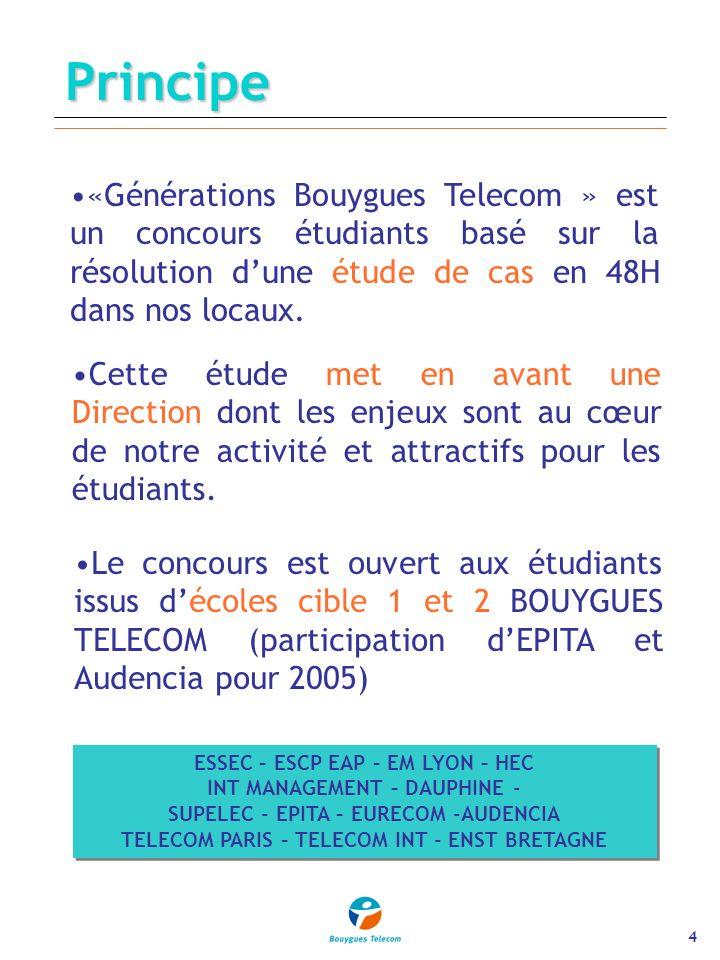 4Principe «Générations Bouygues Telecom » est un concours étudiants basé sur la résolution dune étude de cas en 48H dans nos locaux.