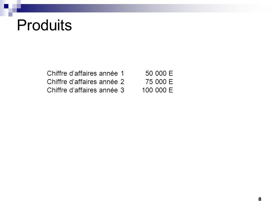 8 Produits Chiffre daffaires année 1 50 000 E Chiffre daffaires année 2 75 000 E Chiffre daffaires année 3 100 000 E
