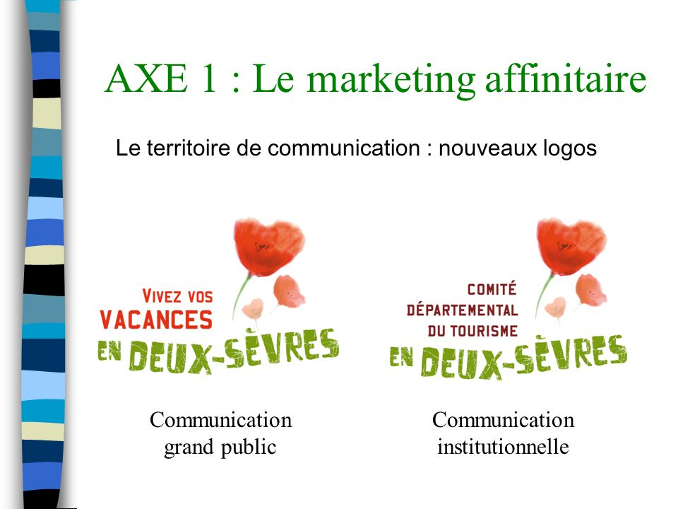 AXE 1 : Le marketing affinitaire Le territoire de communication : nouveaux logos Communication grand public Communication institutionnelle