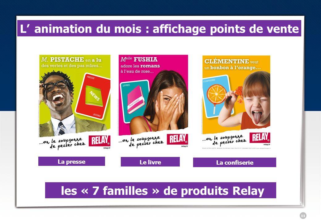 11 les « 7 familles » de produits Relay Lanimation du mois : affichage points de vente La presse Le livre La confiserie