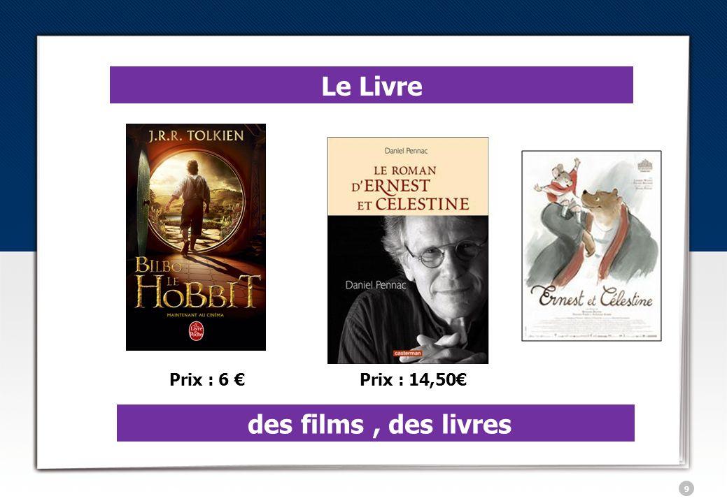 10 Le Livre des films, des livres Prix : 7,10Prix : 8,40