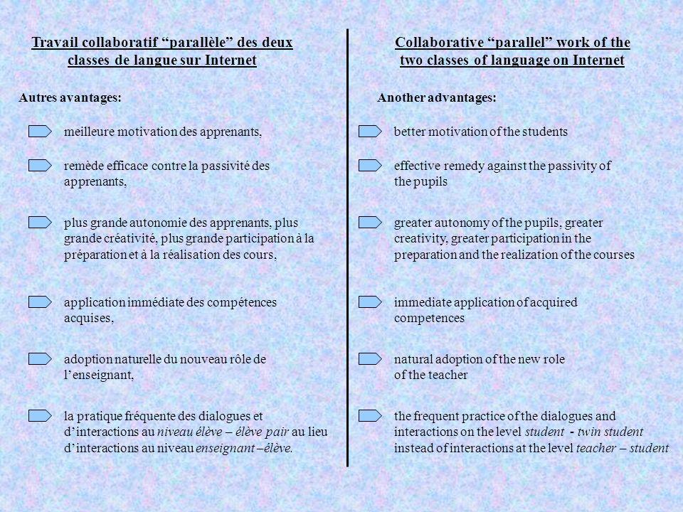 Travail collaboratif parallèle des deux classes de langue sur Internet Collaborative parallel work of the two classes of language on Internet Autres a