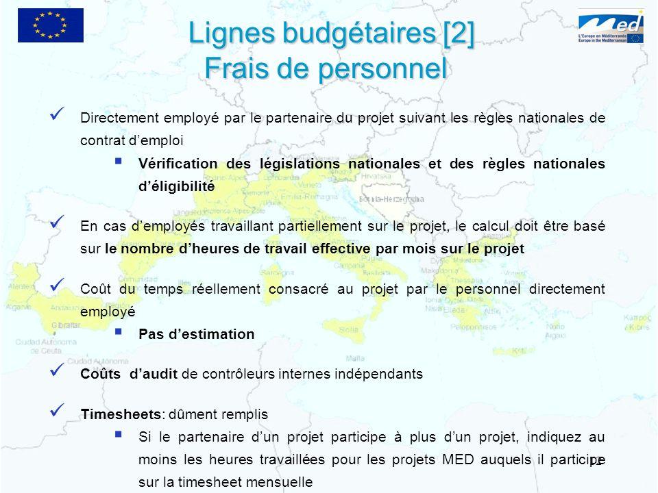 Lignes budgétaires [2] Frais de personnel Directement employé par le partenaire du projet suivant les règles nationales de contrat demploi Vérificatio