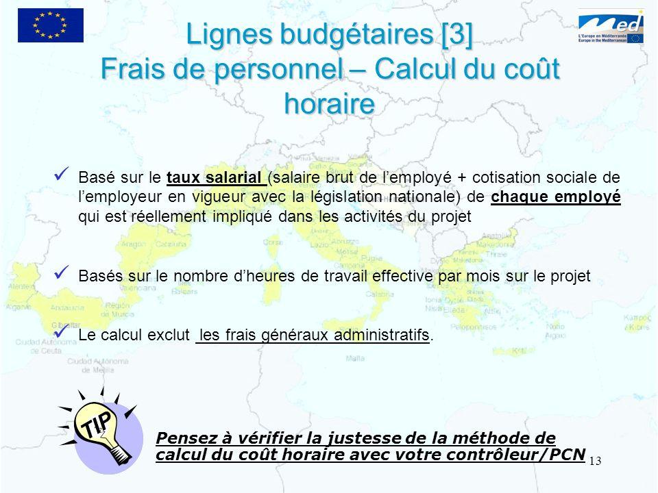 Lignes budgétaires [3] Frais de personnel – Calcul du coût horaire Lignes budgétaires [3] Frais de personnel – Calcul du coût horaire Pensez à vérifie