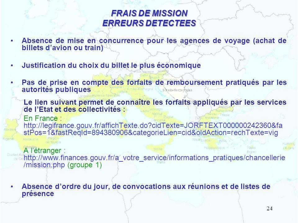 FRAIS DE MISSION ERREURS DETECTEES Absence de mise en concurrence pour les agences de voyage (achat de billets davion ou train) Justification du choix