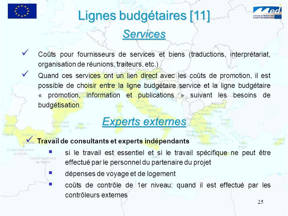 Lignes budgétaires [11] Coûts pour fournisseurs de services et biens (traductions, interprétariat, organisation de réunions, traiteurs, etc.) Quand ce